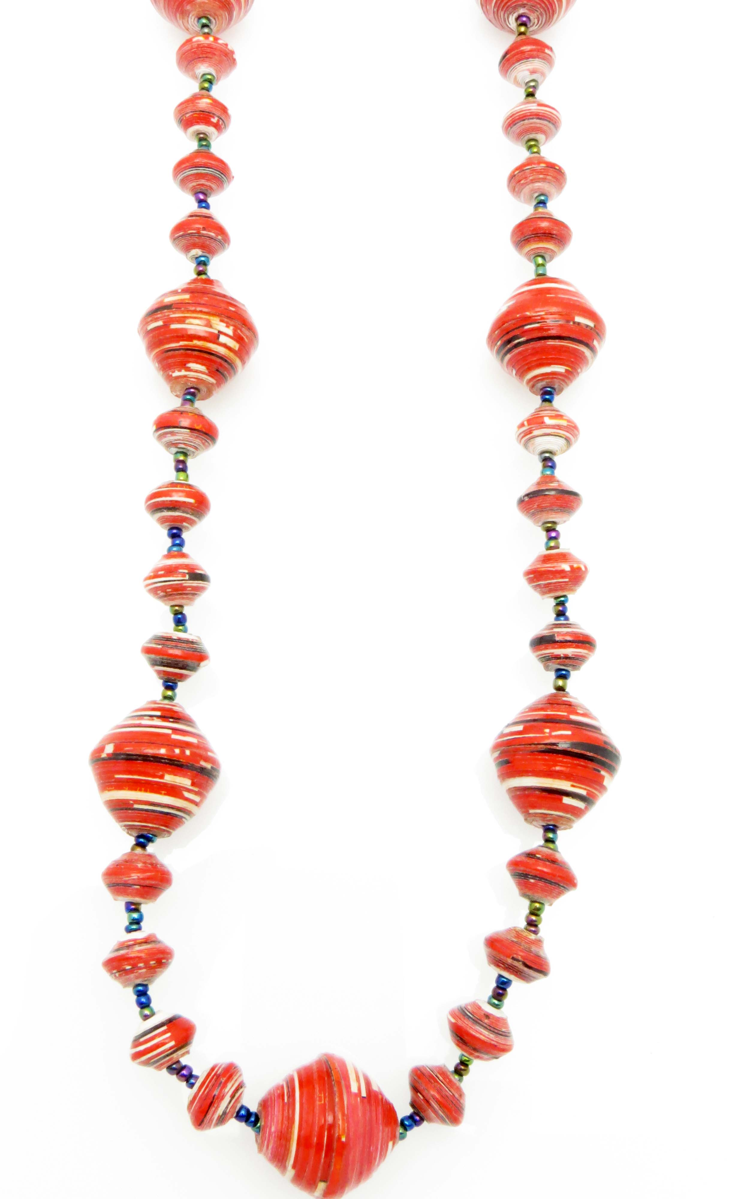 Red w/ stripes gigantic bead necklace